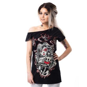 tričko dámske (tunika) Vixxsin - CAT MUERTE OFF SHOULDER - BLACK