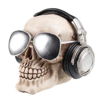 lebka (pokladnička) Skull with earphones & slnečné okuliare
