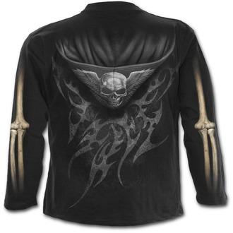 tričko pánske s dlhým rukávom SPIRAL - UNZIPPED - Black - T098M301