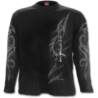 tričko pánske s dlhým rukávom SPIRAL - TRIBAL CHAIN - Black - T135M301