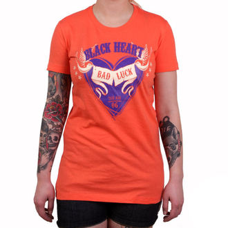 tričko dámske BLACK HEART - BAD LUCK - ORANGE, BLACK HEART