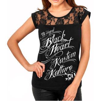 tričko dámske BLACK HEART - KUSTOM KULTURE - BLACK, BLACK HEART