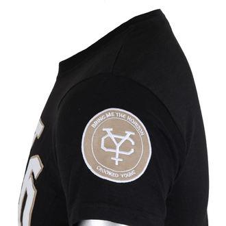 tričko pánske Bring Me The Horizon - Logo & Crooked Youth Icon Applique Slub - Black - ROCK OFF, ROCK OFF, Bring Me The Horizon