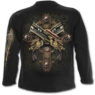 tričko pánske s dlhým rukávom SPIRAL - STEAMPUNK SKELETON - Black, SPIRAL