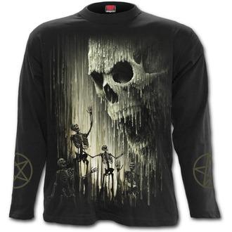 tričko pánske s dlhým rukávom SPIRAL - WAXED SKULL - Black, SPIRAL