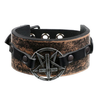 náramok Pentagram Cross - brown, JM LEATHER