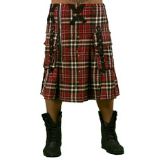 kilt pánsky DEAD THREADS - Red Tartan, DEAD THREADS