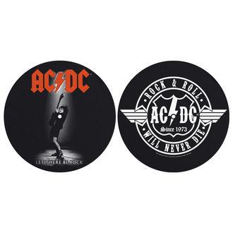 podložka na gramofón (set 2ks) AC/DC - LET THERE BE ROCK! ROCK AND ROLL - RAZAMATAZ, RAZAMATAZ, AC-DC