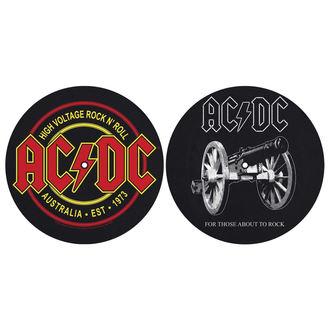 podložka na gramofón (set 2ks) AC/DC - FOR THOSE MOUT TO ROCK - HIGH VOLTAGE - RAZAMATAZ, RAZAMATAZ, AC-DC