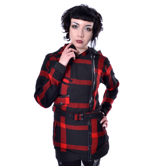 kabát dámsky POIZEN INDUSTRIES - TILLY - BLACK/RED CHECK, POIZEN INDUSTRIES