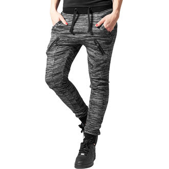 nohavice dámske (tepláky) URBAN CLASSICS - Fitted Melange - blk / gry, URBAN CLASSICS