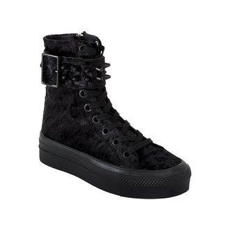 topánky dámske KILLSTAR - UNHOLY HIGH TOPS - Velvet - BLACK