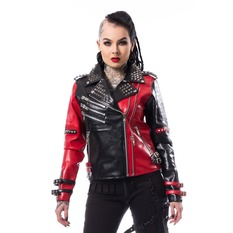 bunda dámska (křivák) Heartless - ASYLUM BIKER - BLACK/RED, HEARTLESS