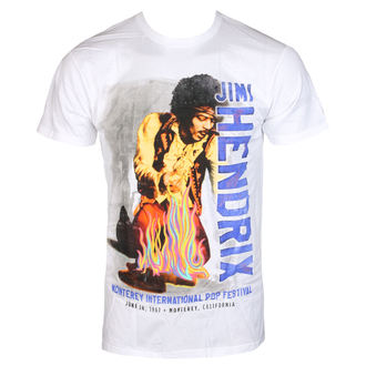 tričko pánske Jimi Hendrix - RAINBOW GUITAR FIRE - White - BRAVADO, BRAVADO, Jimi Hendrix