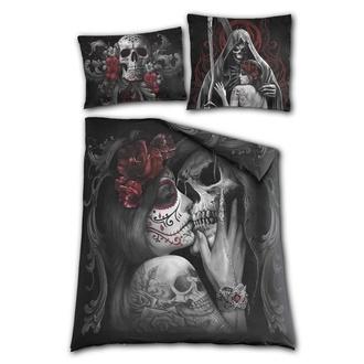 obliečky SPIRAL - Double Bedding - UK + EU Pillow - SKULL ROSES, SPIRAL