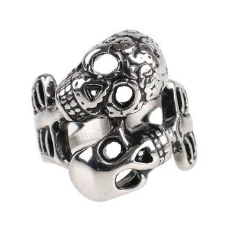 prsteň ETNOX - Double Skull - SR1178