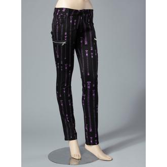 Nohavice  dámské HELL BUNNY - Zipper Skinny Jeans (Purple), HELL BUNNY
