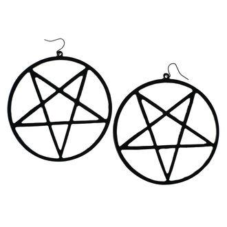 náušnice Luciferothica - Huge Inverted Pentagram - Black, LUCIFEROTHICA