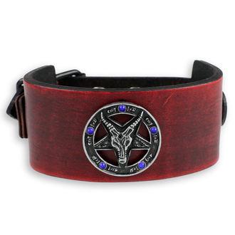 náramok Baphomet - red - krystal blue, Leather & Steel Fashion