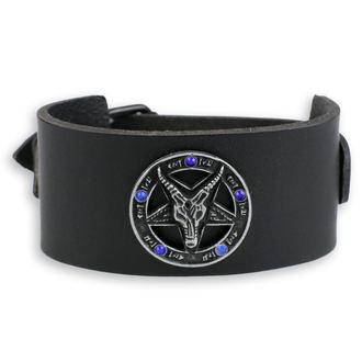 náramok Baphomet - black - krystal blue, Leather & Steel Fashion