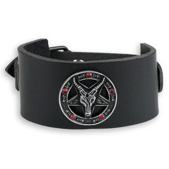 náramok Baphomet - black - krystal red, Leather & Steel Fashion