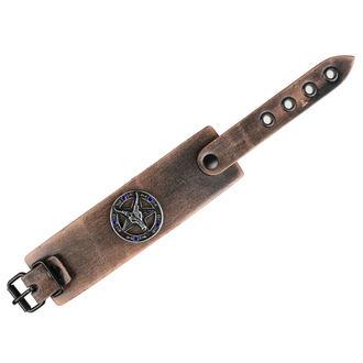 náramok Baphomet - brown - krystal blue, Leather & Steel Fashion