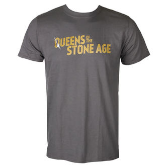 tričko pánske QUEENS OF THE STONE AGE - TEXT LOGO (METALLIC) - PLASTIC HEAD