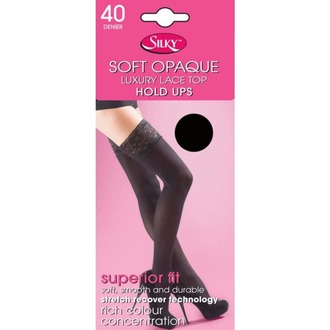 pančucháče LEGWEAR - 40 denier opaque lace top hold ups - black, LEGWEAR
