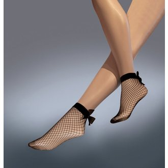 ponožky LEGWEAR - Fishnet bow ankle highs - Black - SHSCBA0BL1