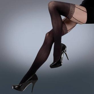 pančucháče LEGWEAR - mock lace suspender - black, LEGWEAR