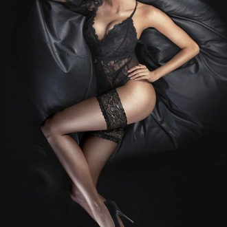 pančucháče LEGWEAR - Ultra gloss lace top hold ups - Barely black, LEGWEAR